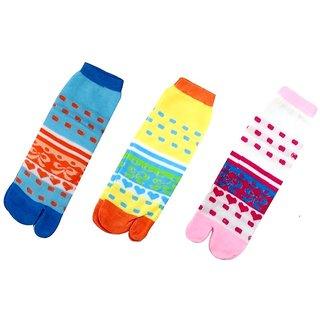 Neska Moda 3 Pair Women Cotton Thumb Ankle Length Socks Yellow Blue and Pink S78