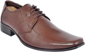 Allen Cooper Men Brown Derby Leather Formal Shoes