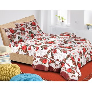 3D Double Bedsheet with 2 pillow Covers Fabric-Glace Cotton