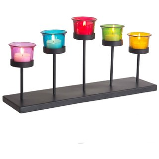 Limerick Home Decorative Candle Holder Stand With Five Assorted Color Glass And T Light Candle