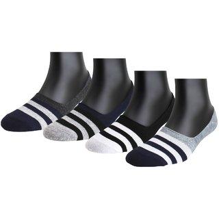 Neska Moda Premium Men and Women 4 Pairs Cotton No Show Socks Dark Blue White