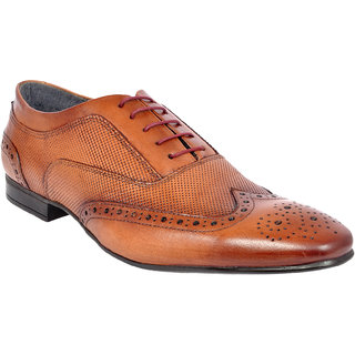 Allen Cooper Men Italian Burnish Tan Brogues Leather formal Shoes