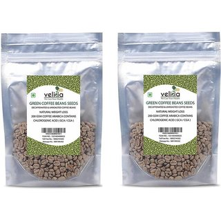 Velicia Natural Decaffeinated Green Coffee Beans Seeds For Weight Loss 200 Gms Coffee Arabica Contains Chlorogenic Acid ( Gca / Cga ) Pack of 2