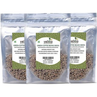 Velicia Natural Decaffeinated Green Coffee Beans Seeds For Weight Loss 200 Gms Coffee Arabica Contains Chlorogenic Acid ( Gca / Cga ) Pack of 3