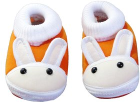 Neska Moda Baby Boys and Girls Rabbit Orange Booties For 0 To 12 Months Infants SK131