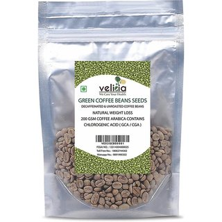 Velicia Natural Decaffeinated Green Coffee Beans Seeds For Weight Loss 200 Gms Coffee Arabica Contains Chlorogenic Acid ( Gca / Cga )