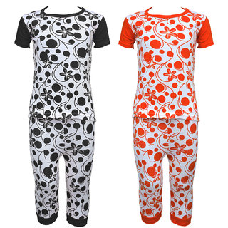 Eazy Trendz Baby Girls Gorgeouse Floral Printed Half Sleeve Top  Bottom Tshirt and Pant Super Set of 2
