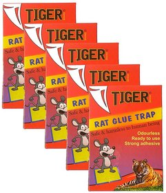 Tiger Rat Glue Trap Set Of 5 Mouse Trap Non-Toxic Glue Pad Safe For Pets And Children (9X7 Inch)