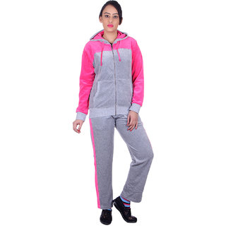 8038a6d27eef Buy Vivid Bharti Women s Grey Pink Shearing Hooded Tracksuit Online - Get  50% Off