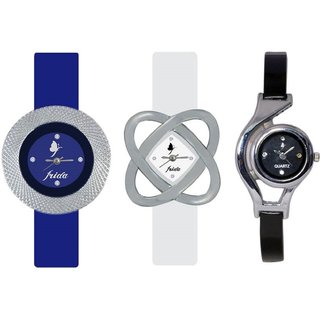 New Stylish and Attractive Frida Blue White WC Black Nice Colour Combo of 3 Watch for Grils And Women
