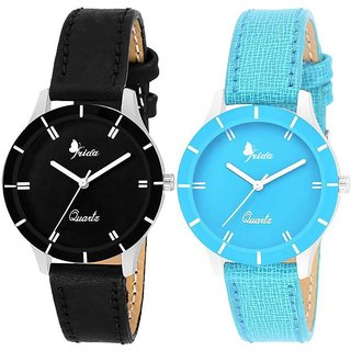 New Stylish and Attractive Black And SkyBlue Nice Colour Combo of 2 Watch for Girls and Women