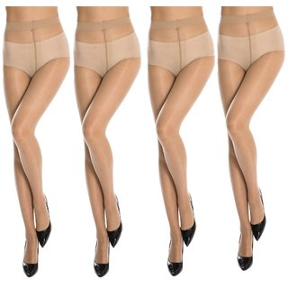 Neska Moda Women 4 Pair Skin Panty Hose Long Comfort Stockings