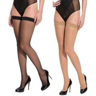 d56467158 Buy Neska Moda Women 2 Pair Skin and Black Casual Thigh High Long Stockings  Online - Get 80% Off