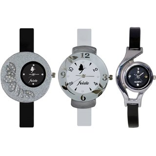 New Stylish and Attractive Frida Black White And WC Black Nice Colour Combo of 3 Watch for Grils And Women