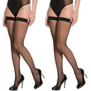 Neska Moda Women 2 Pair Black Casual Thigh High Long Stockings