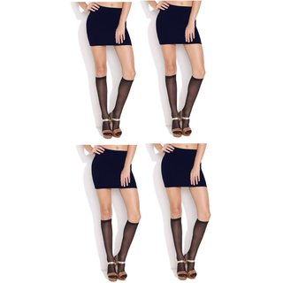 83130409a Buy Neska Moda Women 4 Pair Nylon Black Knee Length Stockings Online - Get  76% Off