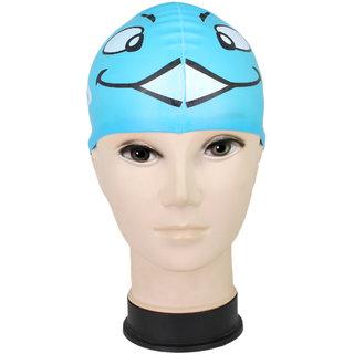 9e6e2a409c4 Neska Moda Premium Blue Full Head Cover Unisex Silicon Swimming Cap Swim43