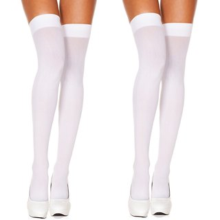 Neska Moda Women 2 Pair White Casual Thigh High Long Stockings
