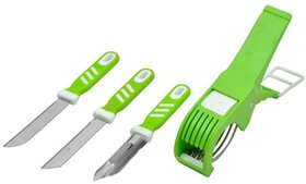 Rotek Combo Set of Vegetable Cutter with Deluxe Knife and Vegetable Peeler - Color May Vary