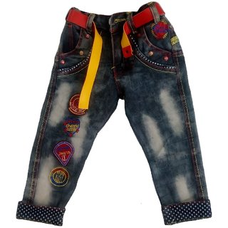 b337041c009 Sonpra Kids Boys Premium Quality Elastic Waist Stylish Denim Jeans with Belt