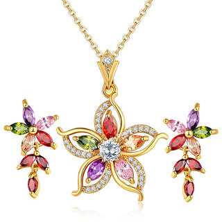 Jewels Galaxy Crystal Elements Exclusive Luxuria Limited Edition Sparkling Floral Design Adorable Pendant Set For Women/