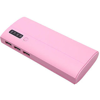 Crawl percentage indicator with 3 usb port 10400 mah power bank (pink)