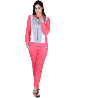 Vivid Bharti Women 3 Colour Pink,Gray  White Collar Tracksuit