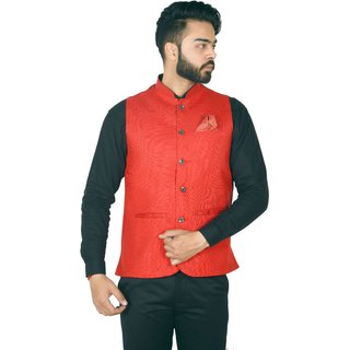 Wearza Mens Red Woven Cotton Blend Sleevless Rounded Bottom Nehru and Modi Jacket Ethnic Style For Party Wear Sizes S-XXXL