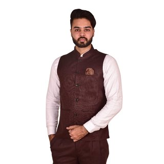 Wearza Men's Coffee Woven Cotton Blend Sleevless Rounded Bottom Nehru and Modi Jacket Ethnic Style For Party Wear, Sizes S-XXXL