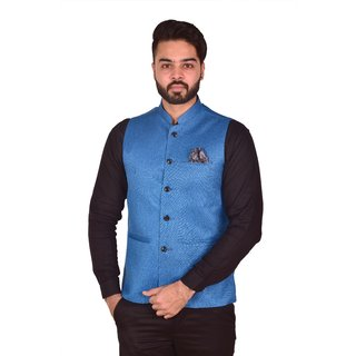 Wearza Men's Blue Woven Cotton Blend Sleevless Rounded Bottom Nehru and Modi Jacket Ethnic Style For Party Wear, Sizes S-XXXL