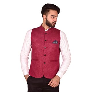 Wearza Mens Cherry Woven Cotton Blend Sleevless Rounded Bottom Nehru and Modi Jacket Ethnic Style For Party Wear Sizes S-XXXL