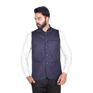 Wearza Mens Navy Blue Woven Cotton Blend Sleevless Rounded Bottom Nehru and Modi Jacket Ethnic Style For Party Wear Sizes S-XXXL