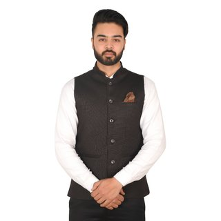 Wearza Mens Black Woven Cotton Blend Sleevless Rounded Bottom Nehru and Modi Jacket Ethnic Style For Party Wear Sizes S-XXXL