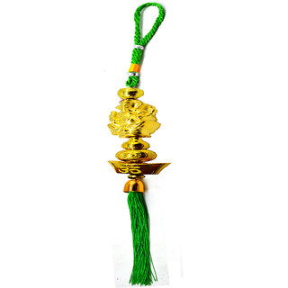 Faynci Om Shri Ganeshay Namah Golden Green Car Rearview Mirror Hanging Ornament/Interior Wall Hanging Showpiece for good luck