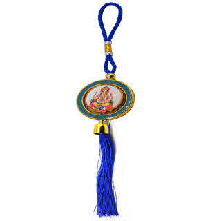 Faynci Shri Ganesh with Leaf Ganesh Blue spinning Car Rearview Mirror Hanging Ornament/Interior Wall Hanging Showpiece
