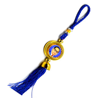 Faynci Lord Buddha With Dr. Babasaheb Ambedkar Blue spinning Car Rearview Mirror Hanging Ornament/Interior Wall Hanging Showpiece for good luck