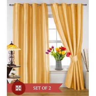 Tejashwi traders Golden crush Door curtains set of 4 (4x7)