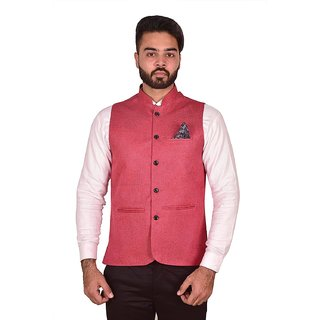 Wearza Mens Peach Woven Cotton Blend Sleevless Rounded Bottom Nehru and Modi Jacket Ethnic Style For Party Wear Sizes S-XXXL