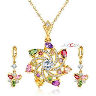 Jewels Galaxy Crystal Elements Luxuria Limited Edition Splendid Design Sparkling Gold Plated Pendant Set For Women/Girls
