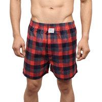 Neska Moda Men Premium Elasticated Cotton Red and Grey Boxer With 1 Back Pocket XB25