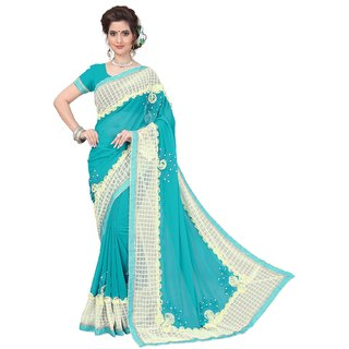 Julee Women's Georgette  Net Ribbon  handwork Saree Rama Color
