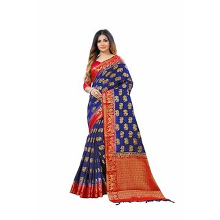TexStile sarees womens Party wear Designer Sarees with Blouse Pieces(BlueelephantSaree)