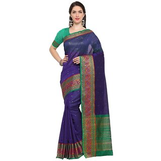 TexStile sarees womens Party wear Designer Sarees with Blouse Pieces(Blue Pink Peacock sari )