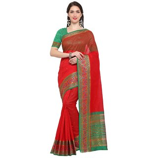 TexStile sarees womens Party wear Designer Sarees with Blouse Pieces(Dark Red Peacock Sari)