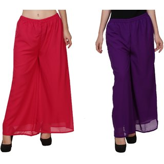 BuyNewTrend Pink Purple Plain Georgette Palazzo Pant For Women (Pack of 2)