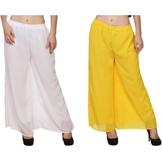 BuyNewTrend White Yellow Plain Georgette Palazzo Pant For Women (Pack of 2)