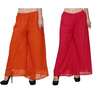 BuyNewTrend Orange Pink Plain Georgette Palazzo Pant For Women (Pack of 2)