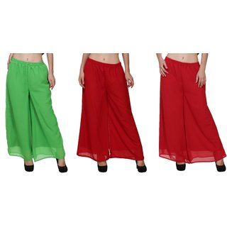 BuyNewTrend Green Maroon Red Plain Georgette Palazzo Pant For Women (Pack of 3)