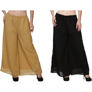 BuyNewTrend Beige Black Plain Georgette Palazzo Pant For Women (Pack of 2)