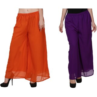 BuyNewTrend Orange Purple Plain Georgette Palazzo Pant For Women (Pack of 2)